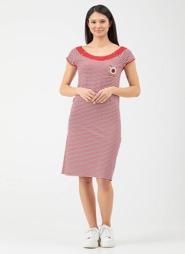 Sementa Kadın Geniş Yaka Marine Elbise - Kırmızı Kırmızı